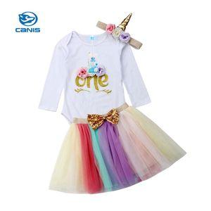 2020 US 3PCS Baby Girl 1st Birthday Outfit Party Unicorn Romper Cake Smash Tutu Summer Dress 0-24M