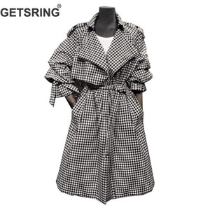GETSRING Frauen Trenchcoat Lace Up Bow Plaid Windbreaker Temperament Langarm Gürtel Weiblicher Mantel Hohe Taille Dünner Langer Mantel