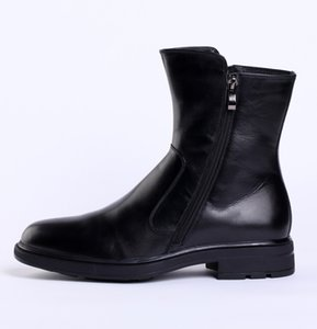 Ankle Men Cotton-padded Shoes High Top Leather Cotton-padded Shoes Work Winter Warm Cowhide Boots Work Warm