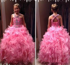 بالاضافة الى حجم مسابقة فتاة اللباس الوردي الساخن جميل طبقات الأورجانزا تنورة عارية الذراعين Ruched وطويل الاطفال الحزب الرسمي أثواب المشاهير اللباس بالنسبة للمراهقين