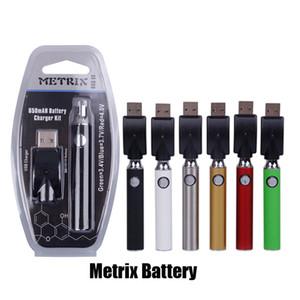 Metrix Ön ısıtma Pil Blister 650 mAh Vertex Ön ısıtma Değişken Voltaj VV Pil USB Şarj Vape Kalem Kiti için 510 Konu Arabaları Kartuş