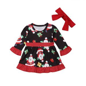 2019 nuovo capretto delle neonate Outfit Fashion Party di Santa principessa fiore Fancy Dress Xmas fascia 2PCS