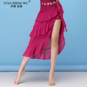 Costumes fio de seda prata friso Skirt Belly Dance Mulheres Belly Dance Skirt Curling saias com Belt