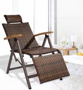 Açık Kapalı Rattan Sallanır Sandalye ile Yastık Sıfır Katlanır Lounge Chair Vintage Recliners İçin Avlu, Havuz, Plaj, güverte, Ev