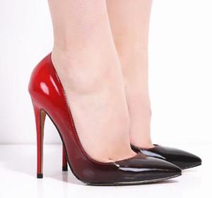 Venda Faddish Terno Gradiente cor de Couro De Patente Saltos Finos New Sexy Mulheres Bombas Vestido De Noiva Sapatos Mulher Apontou Toe