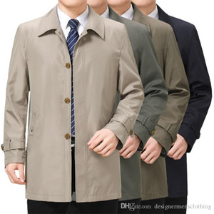 Autumn Mens Business Designer Trench Coats Lapel Neck Long Sleeve Outerwear Casual Middleaged And Elder Coats