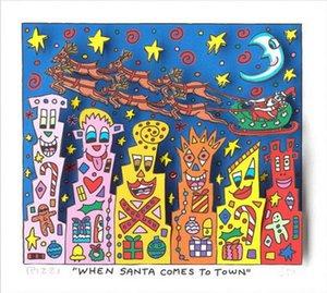 James Rizzi -Cuando Santa llega a la ciudad Decoración Artesanías pintura al óleo sobre lienzo de arte cuadro de la pared 191223