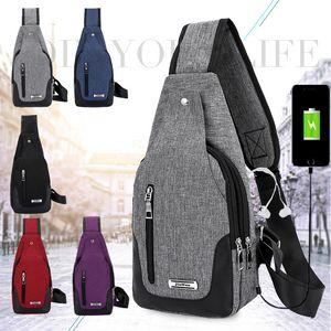 nuovo USB ricarica Anti Theft Chest Bag Crossbody Messenger Borse a tracolla unisex Chest Pack USB Travel Backbag con foro per cuffie Cross Body