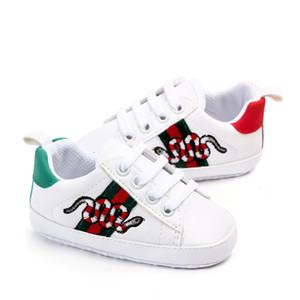 Chaussures bébé nouveau-né Filles Garçons Premières Walkers enfants en bas âge lacent PU Sneakers Prewalker Chaussures Blanc