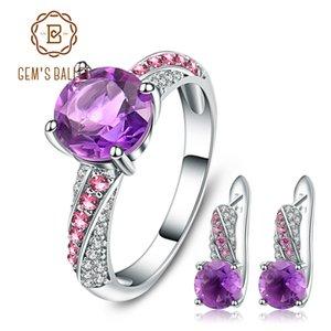 GEM'S BALLET naturel Amethyst Gemstone Ensemble de bijoux argent 925 Boucles d'oreilles Bague pour les femmes Fine Jewelry