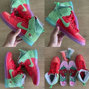 2020 Top Quality NIKE SB Dunk High Strawberry Cough Release Info Skateboarding Shoes Men Women Sports Running Shoes