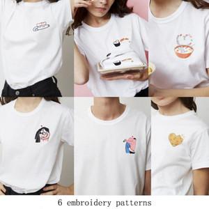 KEUR 파리 T 셔츠 짧은 소매 높은 품질의 기질 의류 자수 여성 애호가 sushis 사랑 도넛 만화 관심이 크기 S-L을 티