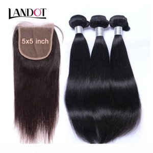 5x5 Lace Closures With 3 Bundles Unprocessed 8A Virgin Brazilian Peruvian Malaysian Indian Straight Remy Human Hair Weaves Mink Extensions