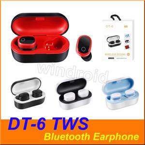 redução de 5,0 barulho DT-6 TWS verdadeira Wireless Headphone sem fio Esporte Academia Bluetooth In-Ear Fones de ouvido Earbuds com carregamento caixa de 4 cores