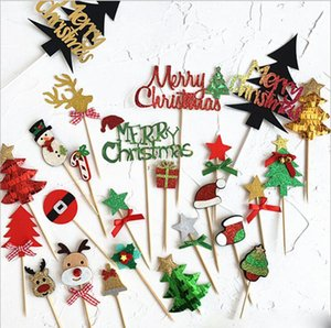 Merry Christmas Acrylic Cake Topper Gold Christmas Tree Star Elk Acrylic Cupcake Topper For Xmas Party Cake Decorations Home Decor