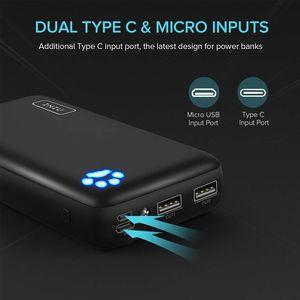 C Puerto 20000mAh Banco de potencia 3A Dual USB portátil Cargador el Powerbank Batería Externa para el iPhone 11 Poverbank