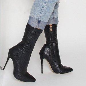 Moda inverno mulheres botas de bico fino Cobra Imprimir Botas 10.5cm salto fino sapatos de salto alto mulher outono Meias fêmeas Botas