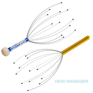 Head Massager Handheld Scalp Massager Scratcher Tingler Stress Reliever Tool Set para estimulación y relajación del cuero cabelludo (azul + oro)