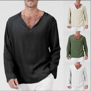5 Renk Erkek T Shirt Keten Gevşek Erkek V yaka Katı Renkler Uzun Kollu Tişört Gevşek Casual Büyük Beden S-4XL