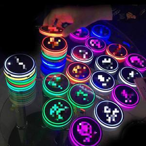 판매 범용 LED 자동차 컵 홀더 매트 패드 병 물 음료 홀더 패드 진동 센서 라이트 커버 램프 자동차 스타일링