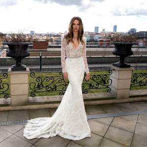 V Neck White Mermaid Wedding Dresses Backless 2020 Illusion Luxury Crystals Beading Embroidery Lace Bridal Gowns Long Sleeves wedding gowns