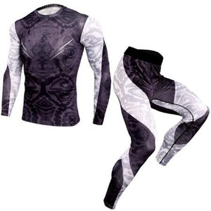 Casual Workout Compression Shirts Men Joggers Gyms Tights Set Snake Printed Tshirt Quick Dry Training Male Shirt Fitness Tracksuit