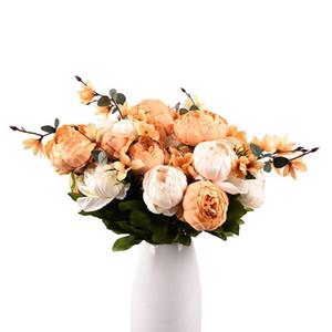 48cm falso florece el ramo artificial del Peony de seda florece la decoración del hogar de seda de flores del Peony Bouquet 6 colores