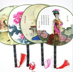 عشاق اليد الخشب مقبض الصينية خمر قصر جولة مروحة اليد مزدوجة طباعة الرقص حزب الجيب هدايا الزفاف ديكور