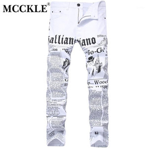 MCCKLE 2017 Hombres Otoño Denim pantalón blanco impresión de periódicos pantalones casuales para hombre pintado Vaqueros ajustados para el tamaño del hombre 28-421