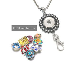 New 122 Flower KeyRing Crystal 18mm Snap Button Necklace Pendant Interchangeable Keychain Charm Jewelry Women Gift