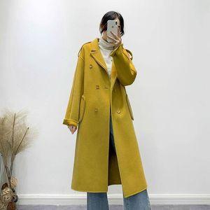 Women 2019 Winter New Double Sided Wool Coat Female Casual Oversize Double Breasted Woolen Overcoat Manteau Femme Invierno K417
