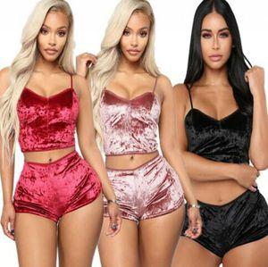Woman Velvet Lingerie Set Tops Underwear Pajamas Lingerie Shorts Pajamas Nightwear 2Pcs Sleepwear Lingerie Crop Tops Shorts KKA7798
