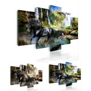 5 Panels Heißer Leinwanddruck Schwarz Pferd Landschaft Poster Moderne Home Decor Wandmalerei Leinwand Druck Kunst HD Drucken Malerei