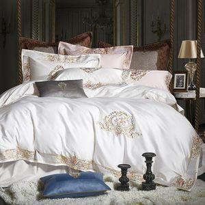 1000TC 이집트면 로얄 럭셔리 침구 세트 화이트 킹 퀸 사이즈 자수 세트 이불 커버 홑이불 세트 Parrure 드 점등 침대