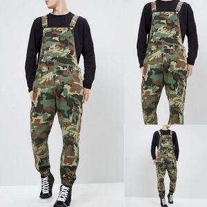 Lunghezza nuovo autunno Jeans Uomo Moda Slim Fit caviglia denim Salopette Tuta autunno Figura intera Pantaloni Camouflage bretella