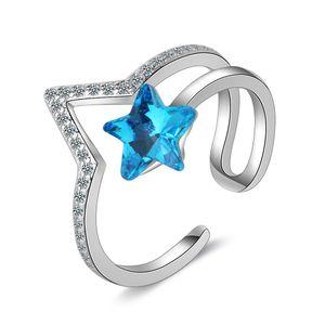 JZ243 Обручальные кольца для женщин посеребренные австрийские хрустальные обручальные кольца Кубический цирконий алмаз Сапфир драгоценный камень