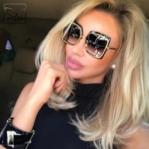 Luxus-MLLSE Mode Übergroßen Quadratischen Sonnenbrillen für Frauen Markendesigner Vintage Retro Großen Rahmen Weibliche Sonnenbrille frauen Sonnenbrillen