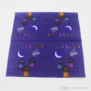 Ramazan Kareem Peçeteler Kağıt İslami Ay Kağıt Peçete Ay Lambası Müslüman Ramazan Bayramı 13 * 13 inç M.Ö. BH1410 İçin Renkli Baskılı Kutu Mendil