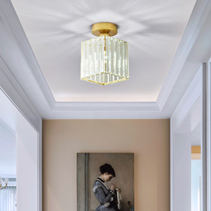 Moderno piccolo lampadario quadrato di cristallo illumina la lampada lampadario di lusso oro soffitto principale lampada per disimpegno balcone ingresso