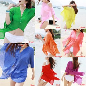 1pc Bikini Beach dress Cover Up Lady Shirt Sexy women Cover Up Women Summer Beachwear