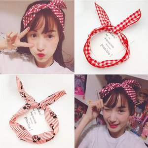 Mouse changeable Rabbit Ears wide face wash wire fabric girl accessories bow tie hair band Accessories hair band summer