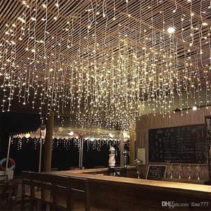 Año nuevo LED Cortina Icicle String Lights 4.5m 16.4ft Droop 96Led Fairy Garland Light para Navidad Decoración al aire libre