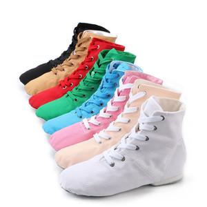 Womens sobre o tornozelo Jazz Botas Lace Up lona Jazz Sapatos de Split Sole Ballroom dança moderna sapatos Mens