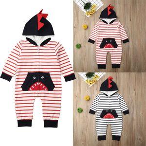 Neugeborene Kinder Junge Shark mit Kapuze Spielanzug-Bodysuit-Overall-Outfits Kleidung