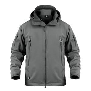 Pavehawk Sólidos tubarão pele Soft Shell com capuz Jacket Para Homens Outdoor Outono-Inverno Quente Wear Windproof Homens Thick Caminhadas Brasão T191111