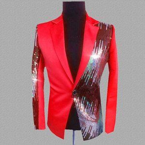 PYJTRL Blazer Erkekler Gece Kulübü Singer Casual Suit Sequins Blazers