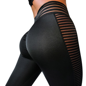 Womens Black Fitness Sexy Slim Leggings For Girl Mesh Patchwork Yoga Running Sports Active Gymnasium Elastic Skinny Pants XS