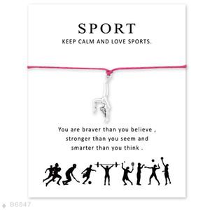 Meninas Gymnast Ajustável Declaração de Ginástica Jóias Com Cartão De Prata Eu Amo Ginástica Pulseiras Pulseiras Para As Mulheres