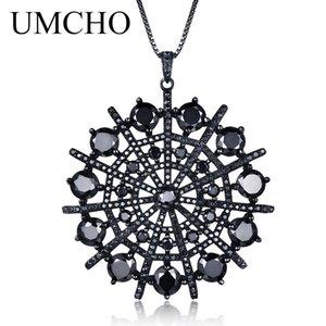 UMCHO Iperbole Gemstone Black Spinel Collana Pendenti Solid 925 Sterling Silver Gioielli Femminili Per Le Donne Regalo Fine Jewelry C18122501
