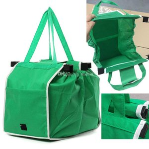 Non Woven Supermarket Shopping Bag Clip to Cart Grocery Bag Foldable Reusable Storage Bag Large Capacity Bags WX9-757